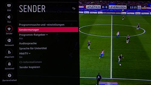 Sendermanager-Menu