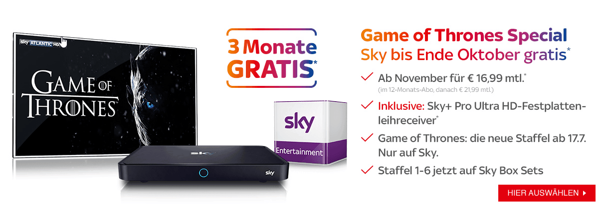 Sky Juli Angebot - Game of Thrones Special