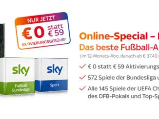 Sky Bundesliga ohne Aktivierungsgebuehr