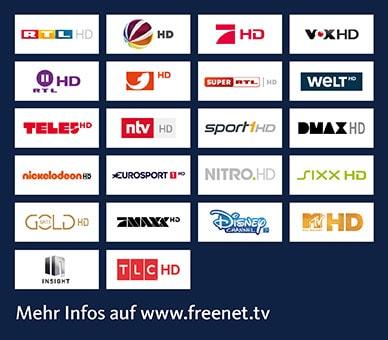 Diese Sender sind bei Freenet TV über Satellit in HD enthalten