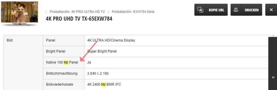 Panasonic EXW784 100 Hz