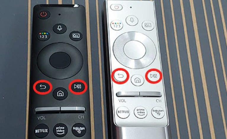 Samsung Smart Remote - Zurücktaste und Wiedergabetaste zum neu koppeln gedrückt halten