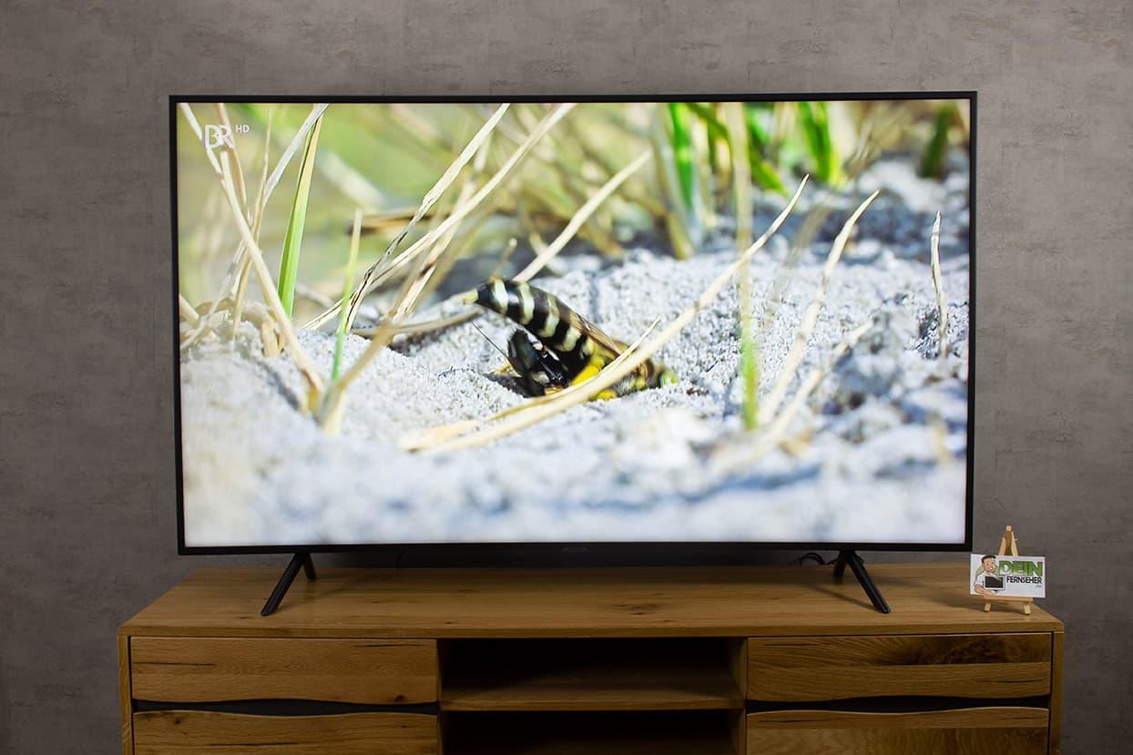 Samsung RU7379 - Fernseher von vorne und eingeschaltet